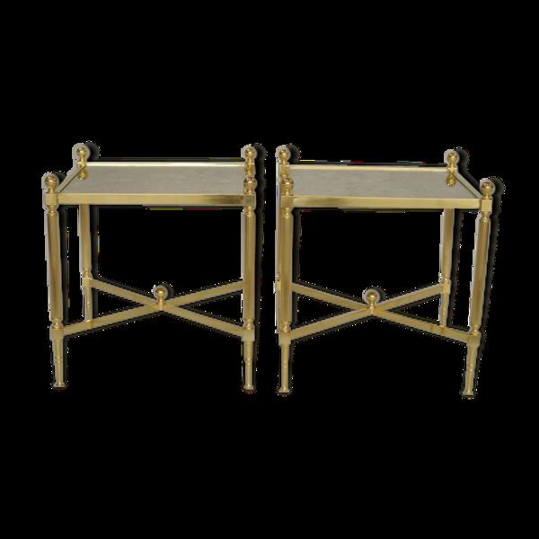 Selency Paire de bouts de canapé en laiton doré de style Louis XVI années 1970