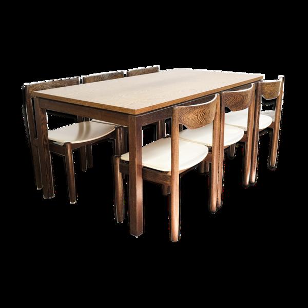 Table de salle à manger et 6 chaises en wengé
