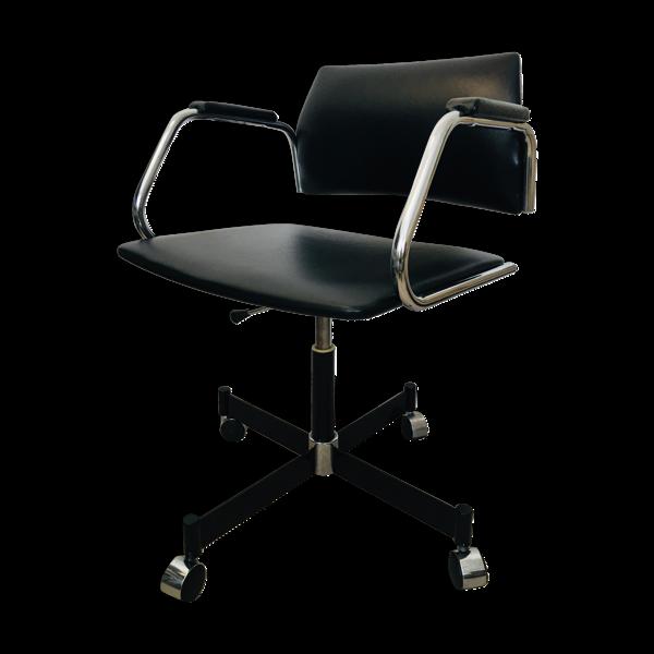 Selency Chaise de bureau noire années 1970