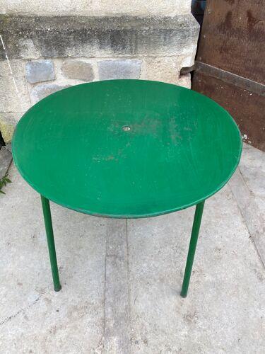 Table ronde métal de jardin 1960