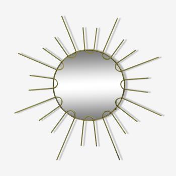Miroir soleil en metal doré 1960 - 40cm