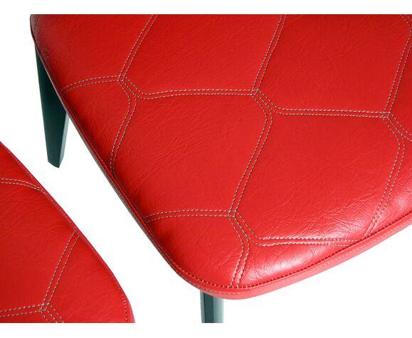 Lot de 4 chaises skaï rouge matelassé année 50