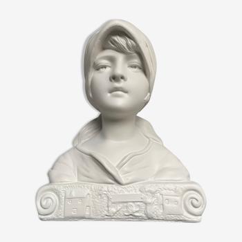 Buste de jeune fille en plâtre