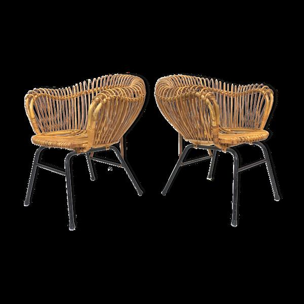 Selency Lot de deux fauteuils vintage en rotin, années 60 Rohe Noordwolde