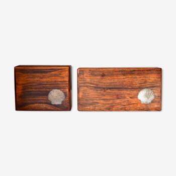 Ensemble de deux boîtes en bois modernes danoises vintage avec des incrustations sterling, années 1960