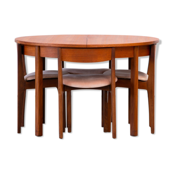 Ensemble table et chaises encastrables scandinave vintage 1960
