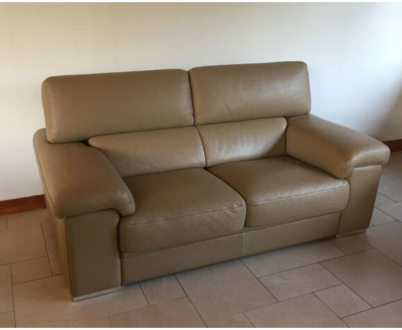 Leather Sofa Beige Color Italian, Leather Sofa Brands Italian