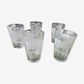 Set de 5 anciens verres gobelets décor sérigraphié signés SN Souchon Neuvesel