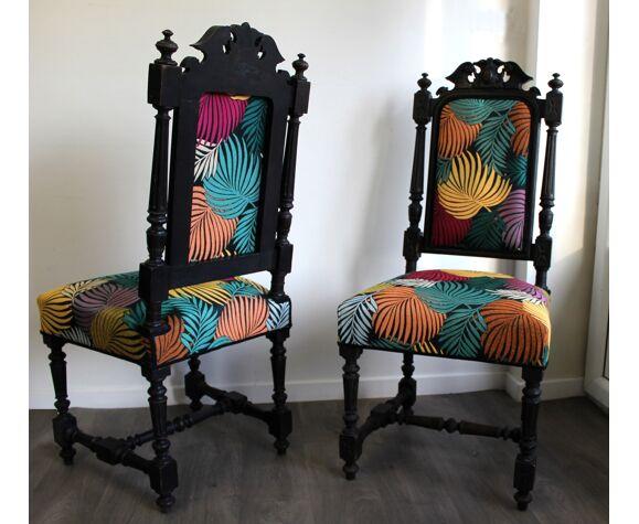 Paire de chaises anciennes style baroques Jungle