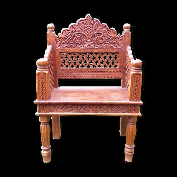 Fauteuil Indien bois sculpté