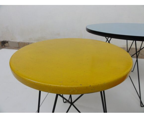 Set of 3 tables IJorst Situationists by Constant for Spectrum 1950 s