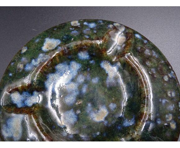 Cendrier en grès décor moucheté vert et bleu vers 1970