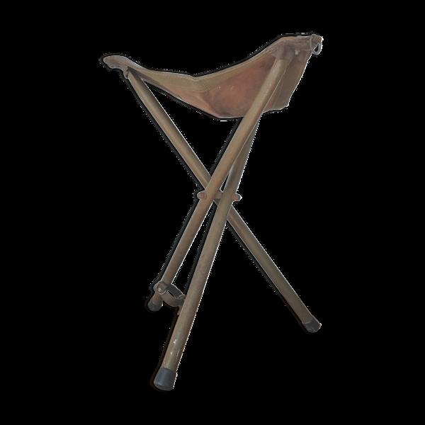 Tabouret pliant métal et cuir