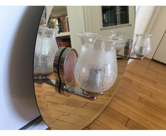 Miroir salle de bains années 50-60 avec lampes - 80x56cm
