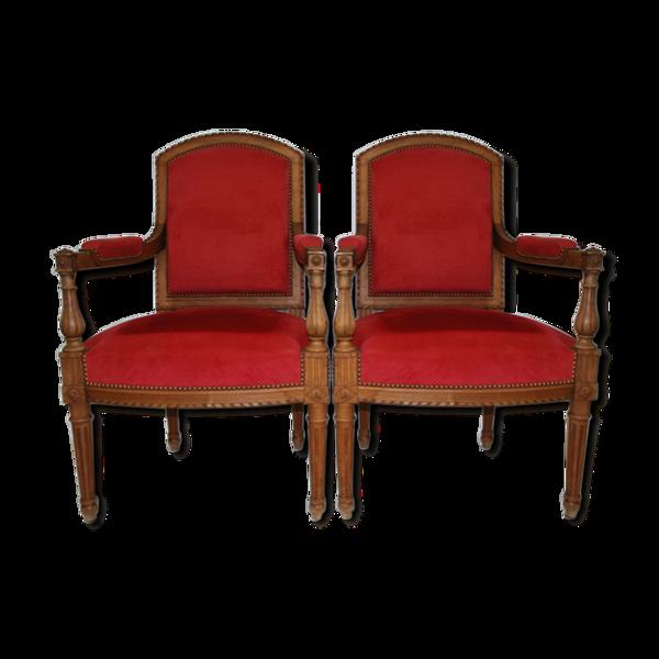 Paire de fauteuils style Louis XVI velours rouge 1900