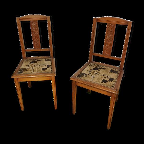 Paire de chaises rustique assise tissé