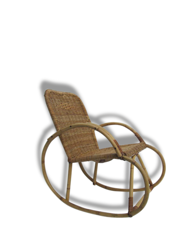 Cute kids 60/70 years rattan rocking chair