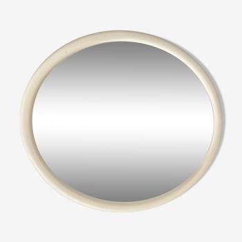 Miroir ovale en bois mélaminé blanc