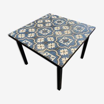 Table haute extérieur en carreaux de ciment 100x100x75 cm 4 place