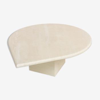 Table basse postmoderne en travertin design 1970