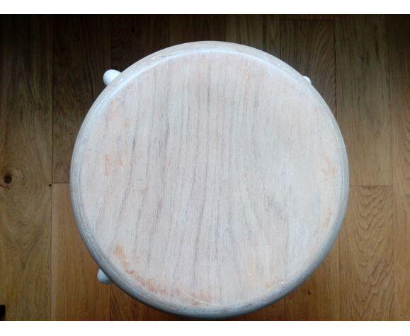 Tabouret industriel métal tubulaire assise ronde en bois