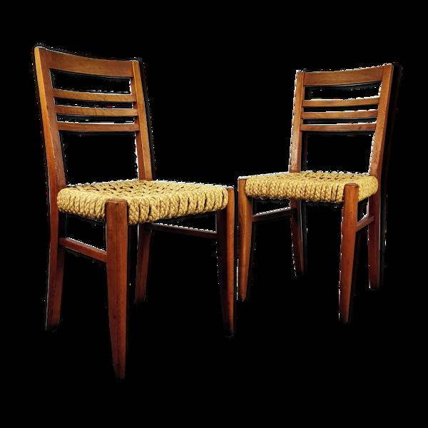 Paire de chaises bois et corde Audoux Minnet, 1950