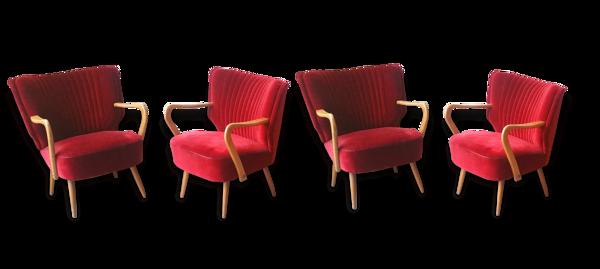 1/4 fauteuils cocktails Rouge cinema