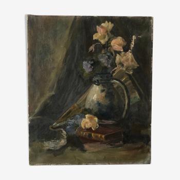 Peinture huile Nature Morte debut XXIeme