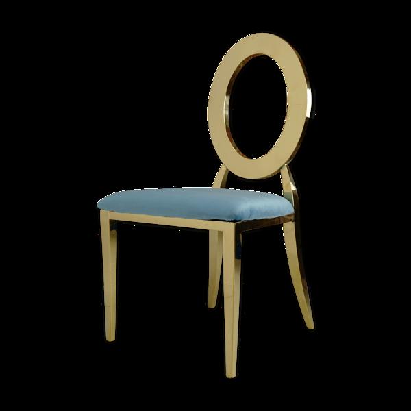 Selency Chaise doré et assise velours turquoise