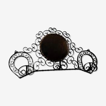 Patère vintage 3 crochets en fer forgé noir déco fer à cheval