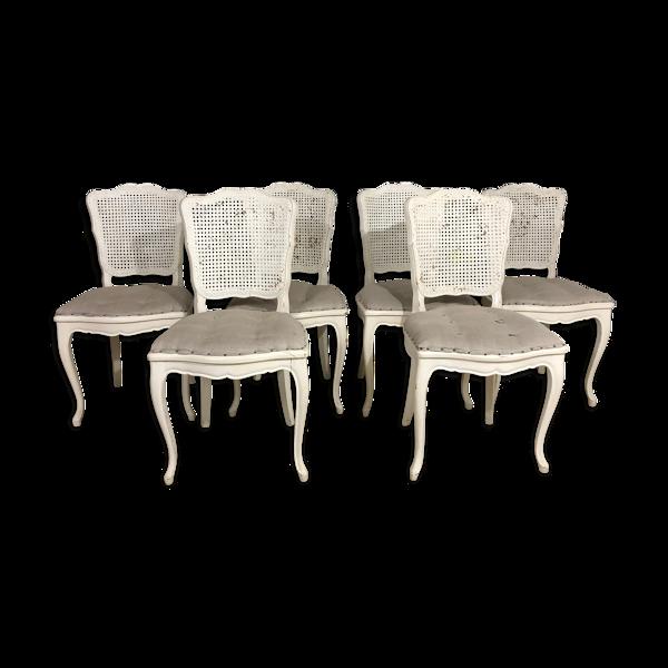 Selency Série de 6 chaises cannées provençales de style Louis XV