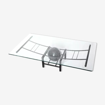 Table basse marbre & verre