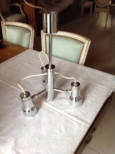 Lustre chromé vintage, 3 lampes orientables années 70