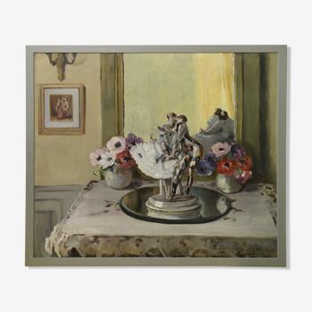 Marie Berton-Maire 1894-1975 huile sur toile scène d'intérieur