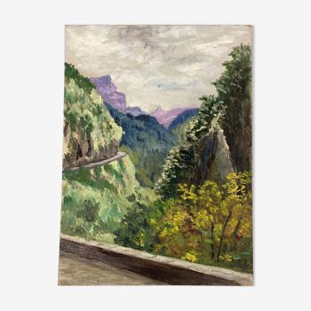 Peinture vintage de montagne