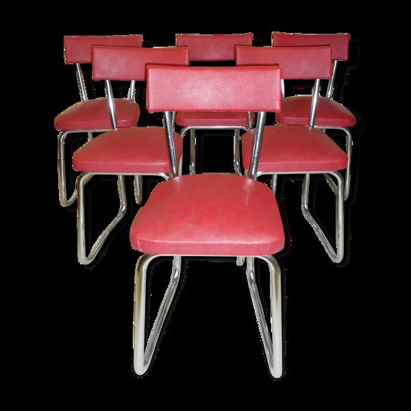 Six chaises traineaux 1950