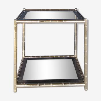 Maison lancel vintage.table d'appoint double plateaux, en laiton doré façon bambou. tbe