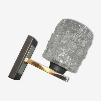 Applique vintage Arlus tulipe verre glaçon structure métal laqué laiton 1950