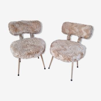Paire de chaises moumoute années 70