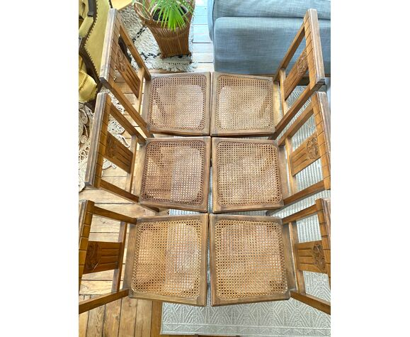 Lot de 6 chaises Art Deco cannées en bois vintage