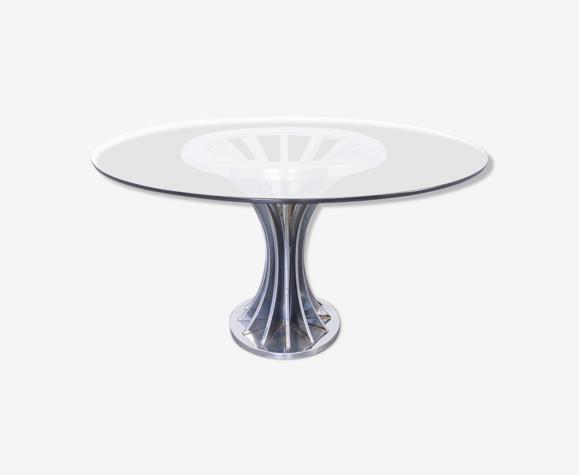 Table ronde verre métal des années 70