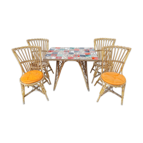 Table à manger et ses 4 chaises rotin années 50