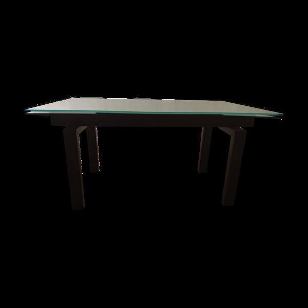Selency Table Roche Bobois bois couleur wengé et verre