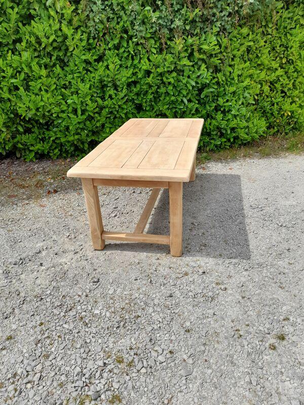 Table de ferme bois brut à système