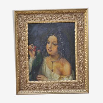Portrait à l'huile Fillette à la perruche