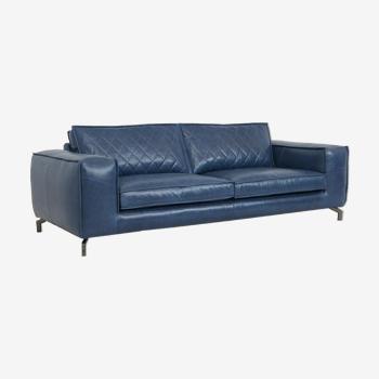 Canapé Velasco II cuir bleu premium