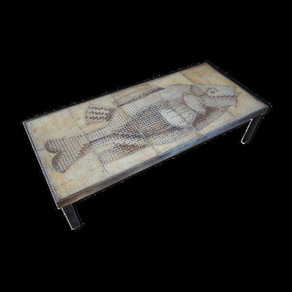 Table basse en céramique Roger Capron modèle Poisson
