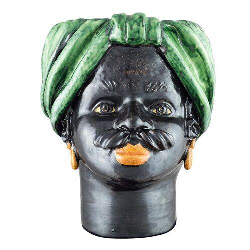 Vase tête moyenne verte homme