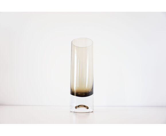 Vase rouleau en verre fumé 1960