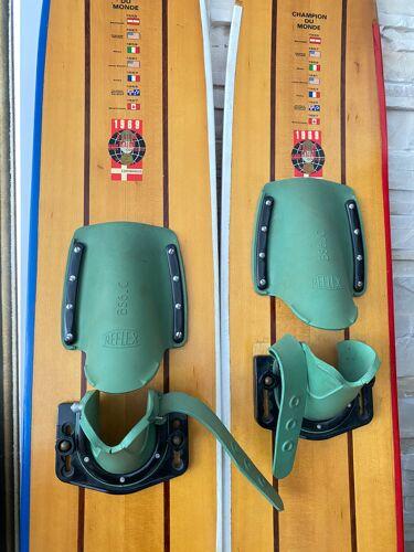 Paire de ski nautique en bois